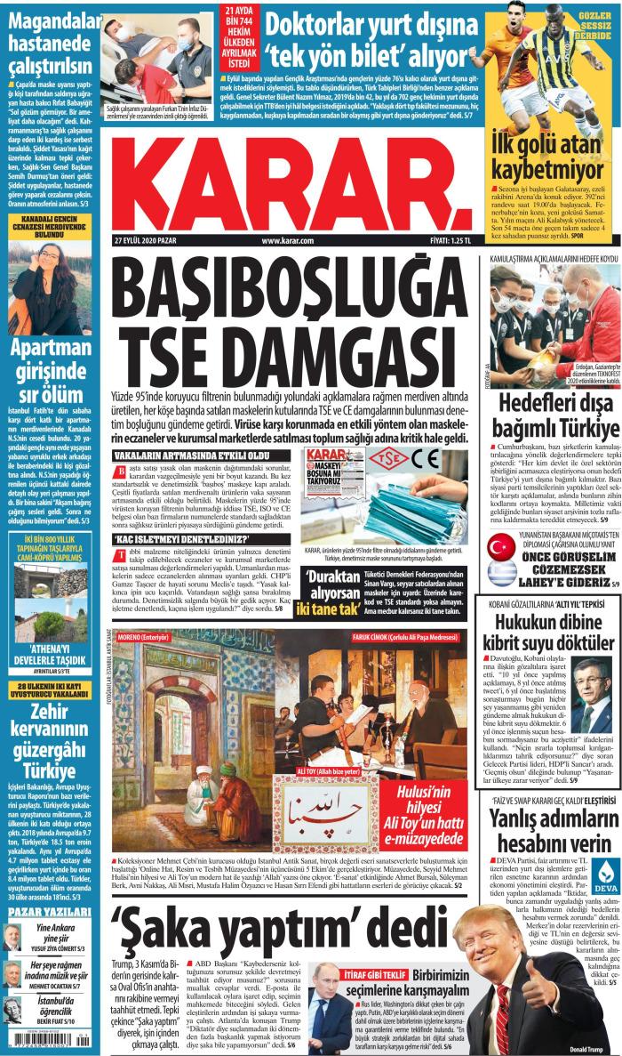 KARAR Gazetesi 27 Eylül 2020, Pazar Günü Manşeti