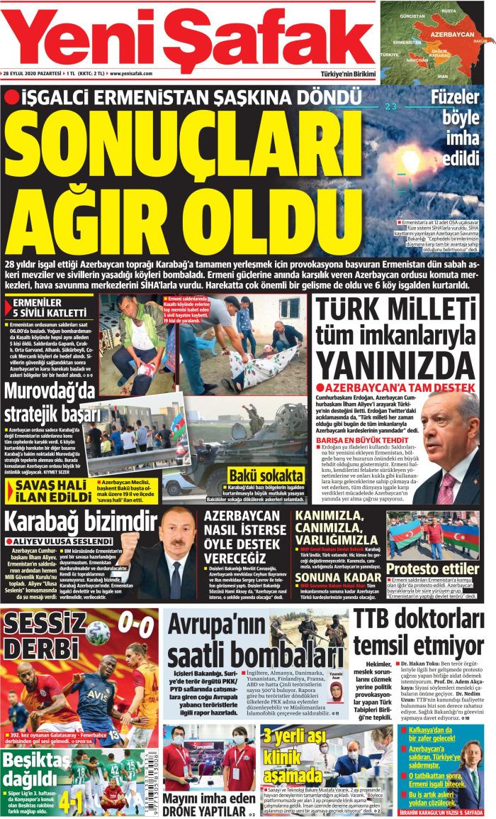 YENİ ŞAFAK Newspaper Headline on Monday, September 28, 2020