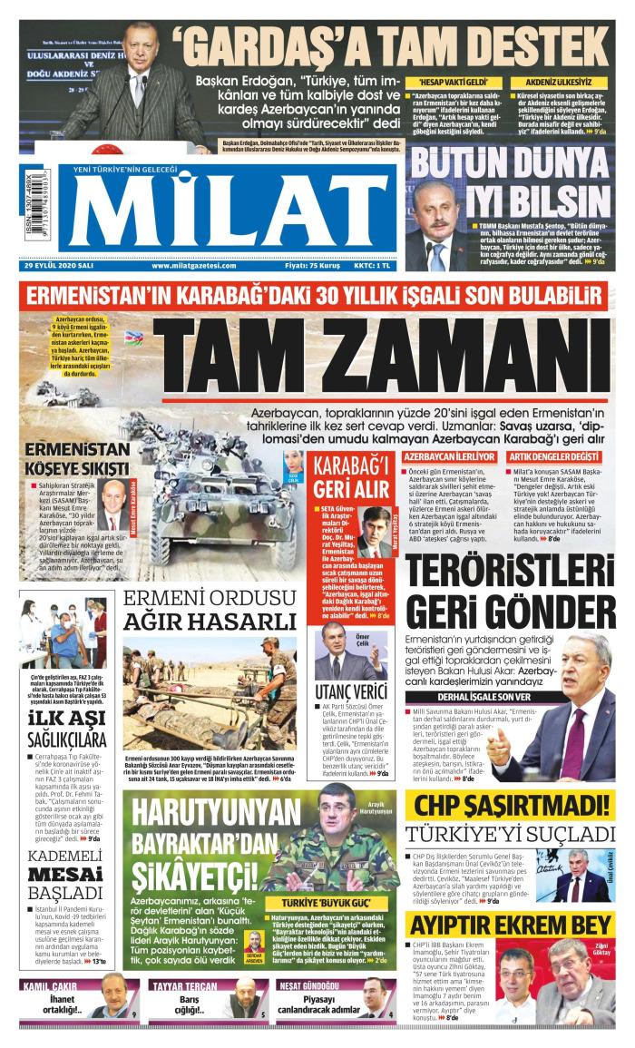 MİLAT Newspaper Headline on Tuesday, September 29, 2020