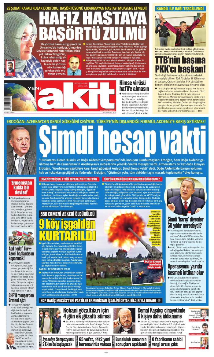 YENİ AKİT Gazetesi 29 Eylül 2020, Salı Günü Manşeti