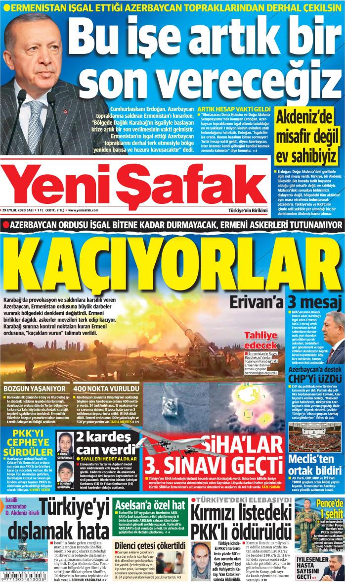 YENİ ŞAFAK Gazetesi 29 Eylül 2020, Salı Günü Manşeti