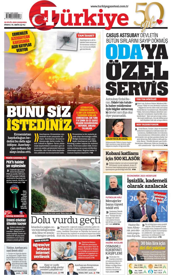 TURKEY News September 30, 2020 on Wednesday Cuff