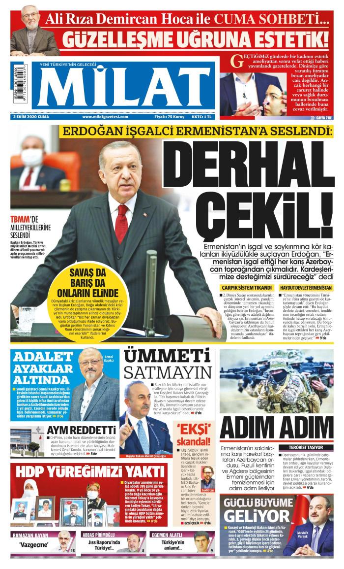 MİLAT Newspaper Headline on Friday, 2 October 2020