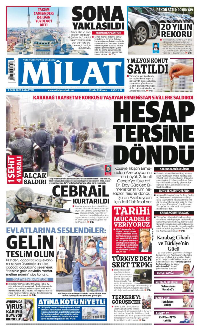 MİLAT Newspaper Headline on Monday, October 5, 2020