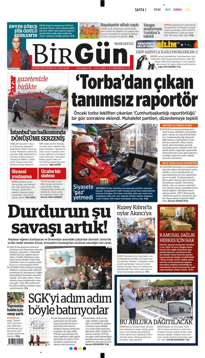 BİRGÜN Gazetesi 18 Ekim 2020, Pazar Günü Manşeti