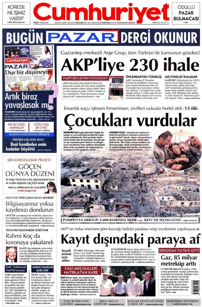 CUMHURİYET Gazetesi 18 Ekim 2020, Pazar Günü Manşeti
