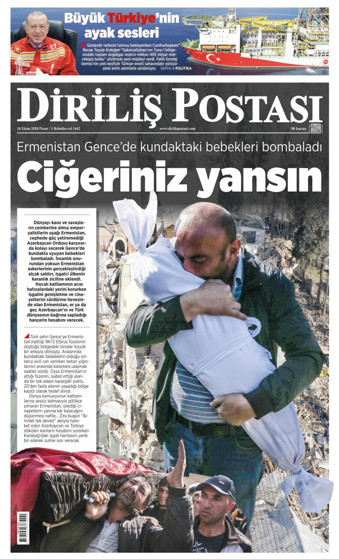 DİRİLİŞ POSTASI Gazetesi 18 Ekim 2020, Pazar Günü Manşeti