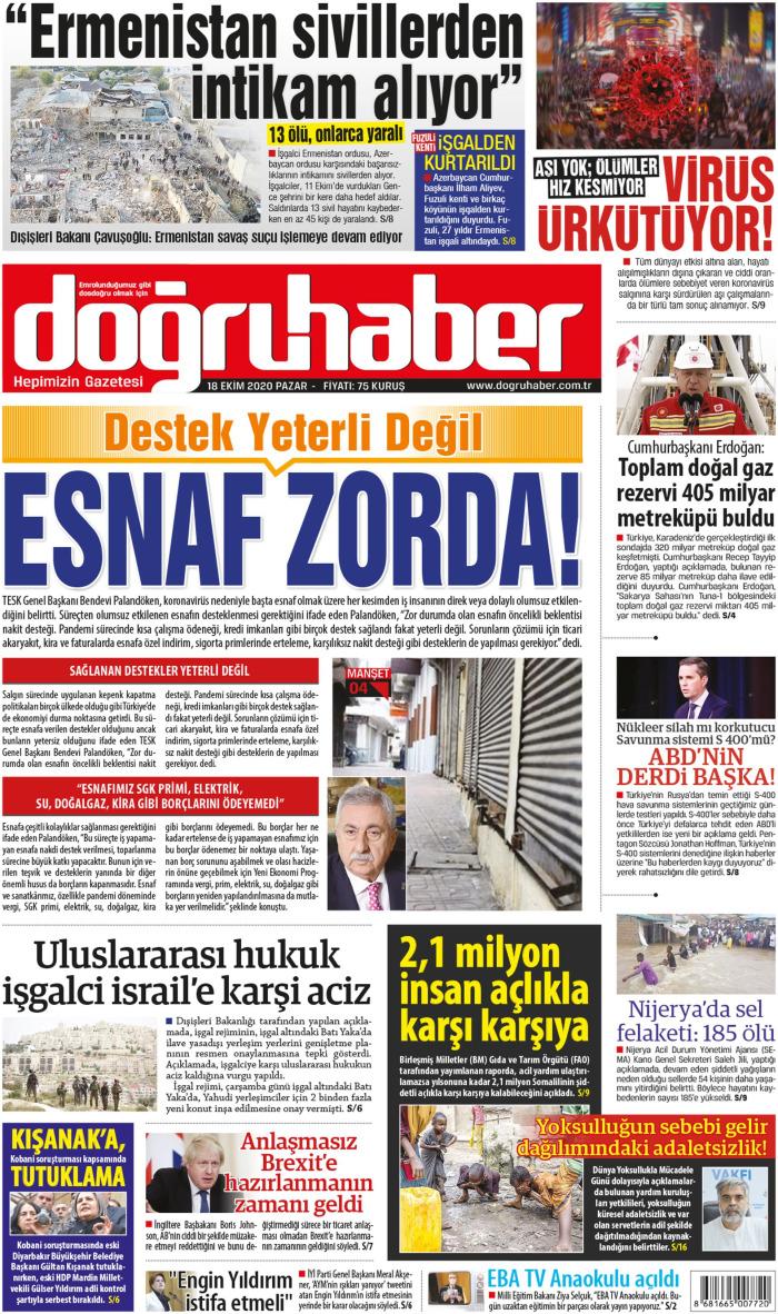 Doğru Haber Gazetesi 18 Ekim 2020, Pazar Günü Manşeti