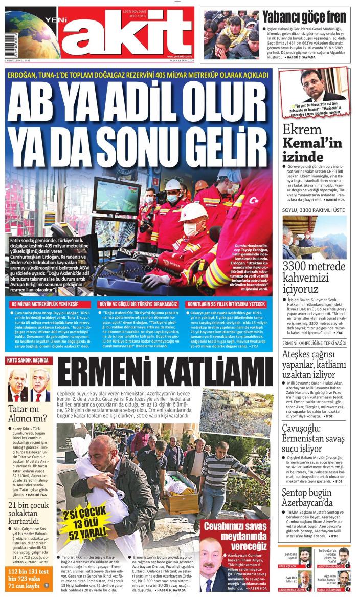 YENİ AKİT Gazetesi 18 Ekim 2020, Pazar Günü Manşeti