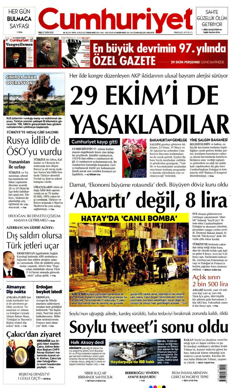 CUMHURİYET Gazetesi 27 Ekim 2020, Salı Günü Manşeti