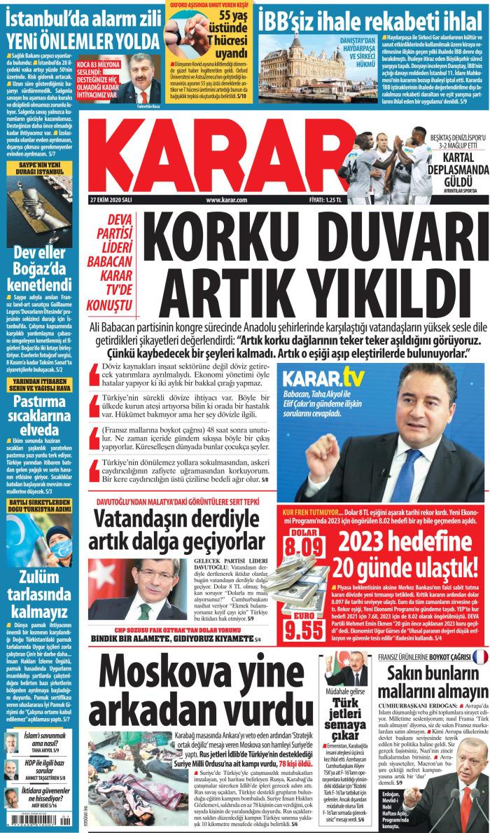 KARAR Gazetesi 27 Ekim 2020, Salı Günü Manşeti