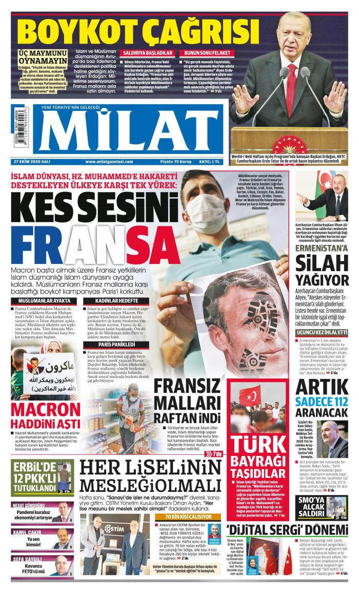 MİLAT Gazetesi 27 Ekim 2020, Salı Günü Manşeti