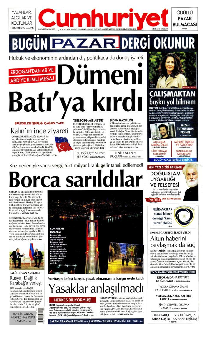 CUMHURİYET Gazetesi 22 Kasım 2020, Pazar Günü Manşeti