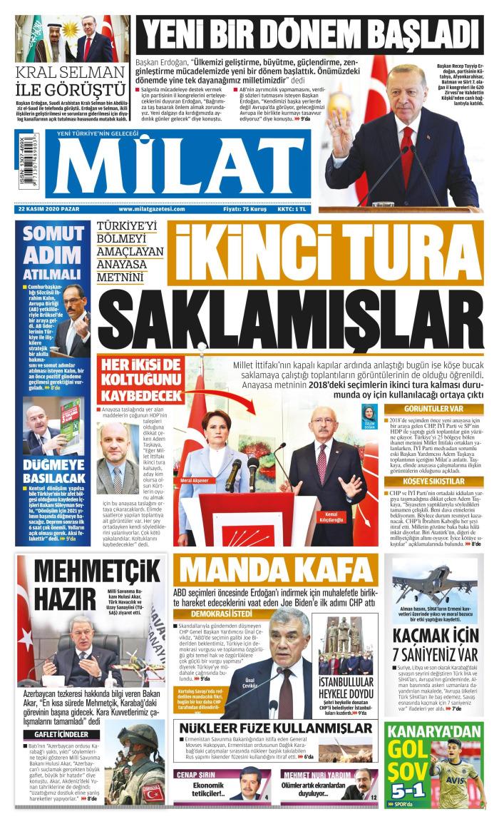 MİLAT Gazetesi 22 Kasım 2020, Pazar Günü Manşeti