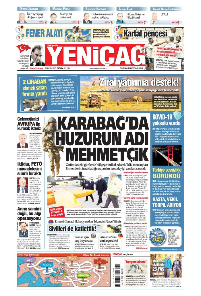 Türkiye'de Yeni Çağ Gazetesi 22 Kasım 2020, Pazar Günü Manşeti