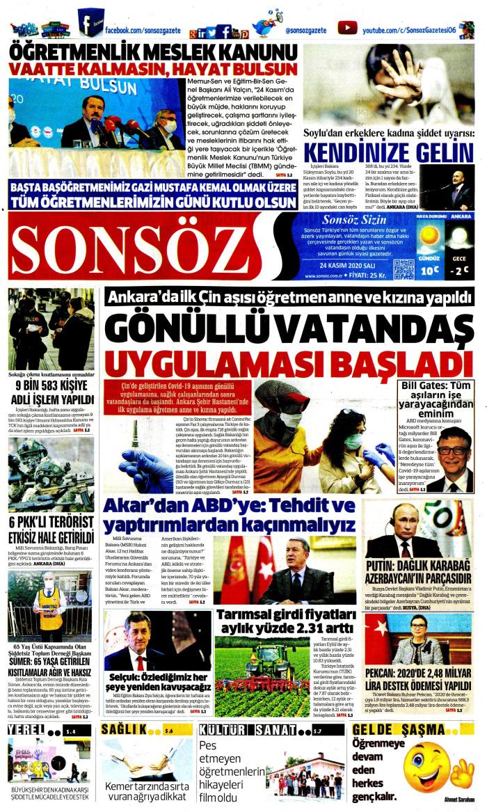 SONSÖZ Gazetesi 24 Kasım 2020, Salı Günü Manşeti