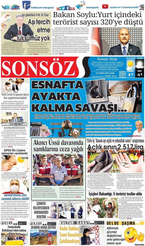 SONSÖZ Gazetesi 27 Kasım 2020, Cuma Günü Manşeti