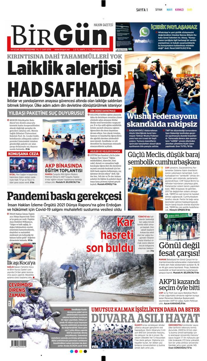 BİRGÜN Gazetesi 14 Ocak 2021, Perşembe Günü Manşeti