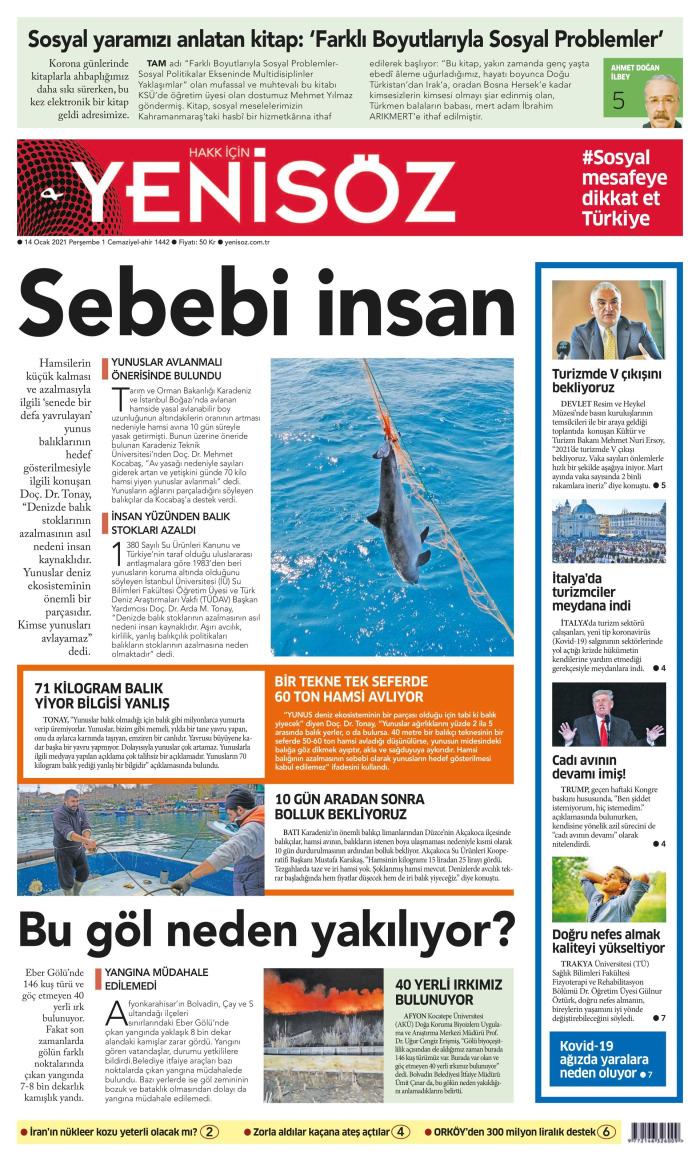 YENİ SÖZ Gazetesi 14 Ocak 2021, Perşembe Günü Manşeti