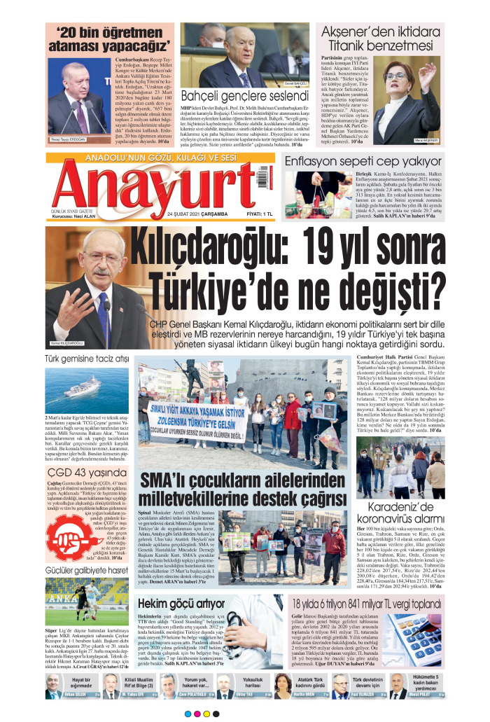 ANAYURT Gazetesi 24 Şubat 2021, Çarşamba Günü Manşeti