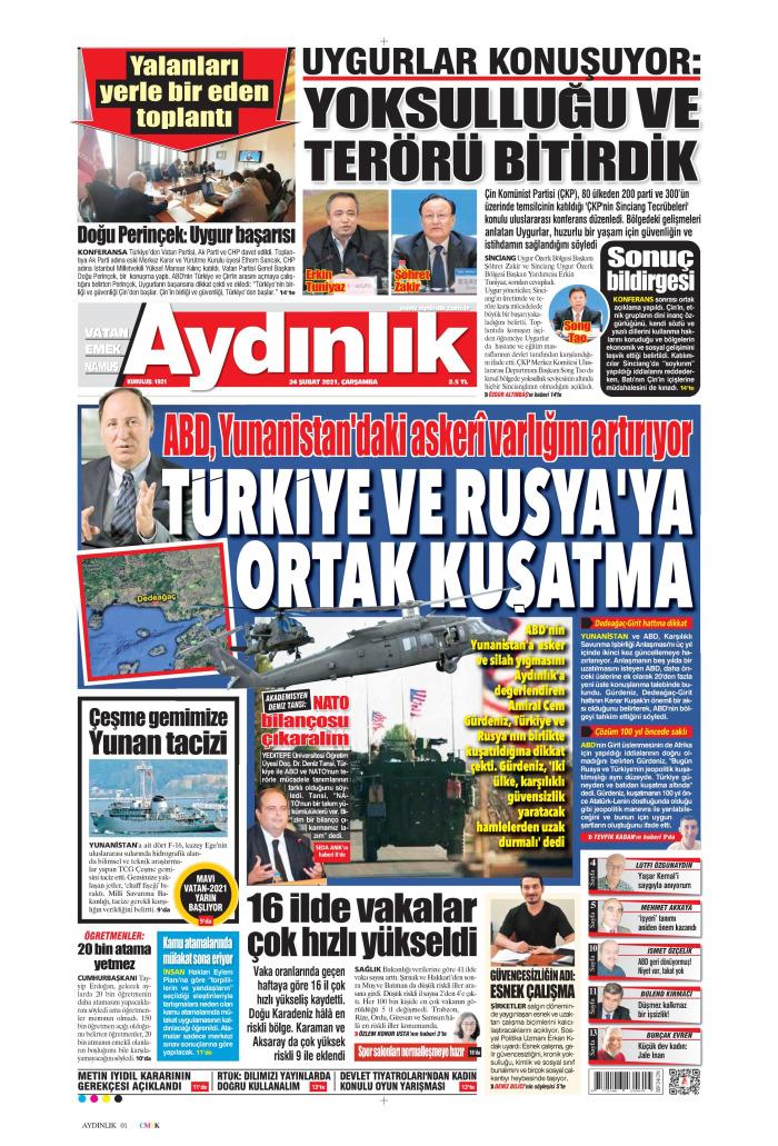 AYDINLIK Gazetesi 24 Şubat 2021, Çarşamba Günü Manşeti
