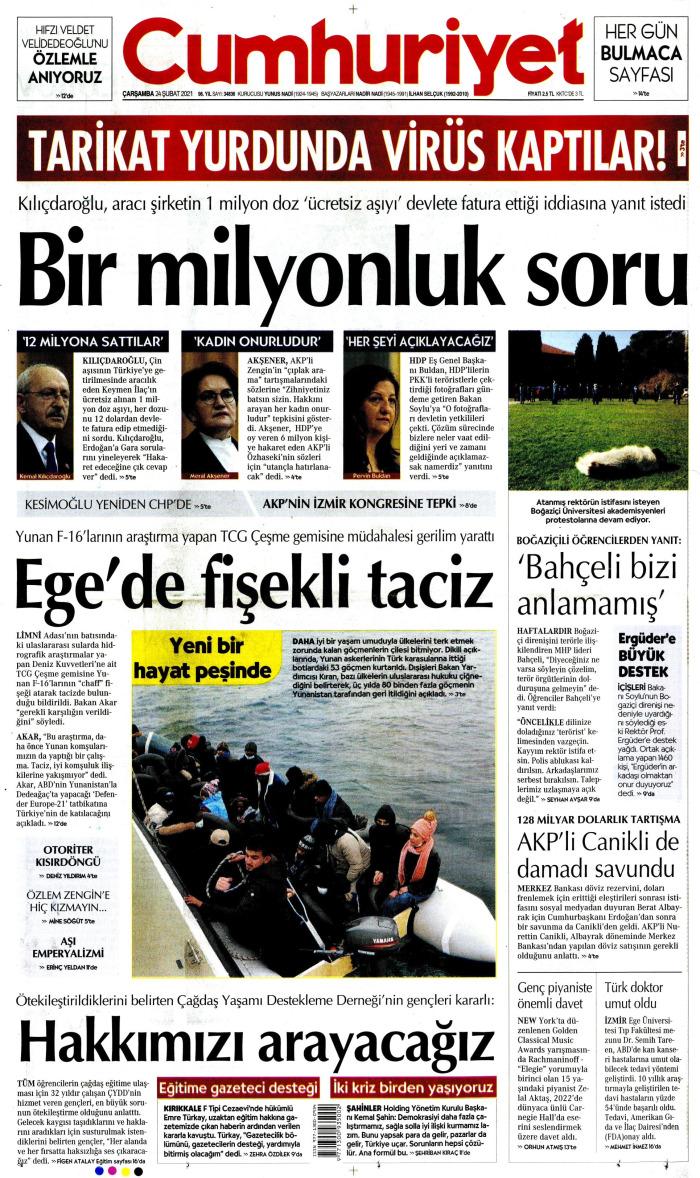 CUMHURİYET Gazetesi 24 Şubat 2021, Çarşamba Günü Manşeti