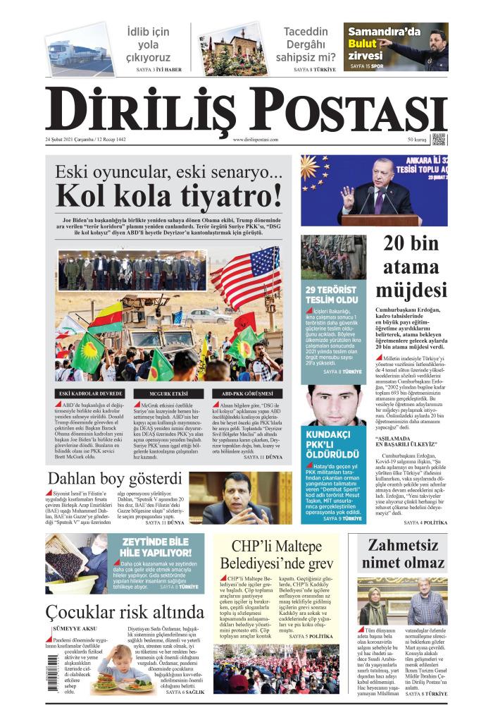 DİRİLİŞ POSTASI Gazetesi 24 Şubat 2021, Çarşamba Günü Manşeti
