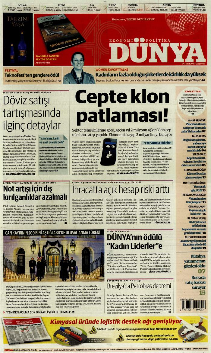 DÜNYA Gazetesi 24 Şubat 2021, Çarşamba Günü Manşeti