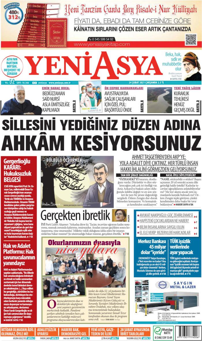 YENİ ASYA Gazetesi 24 Şubat 2021, Çarşamba Günü Manşeti