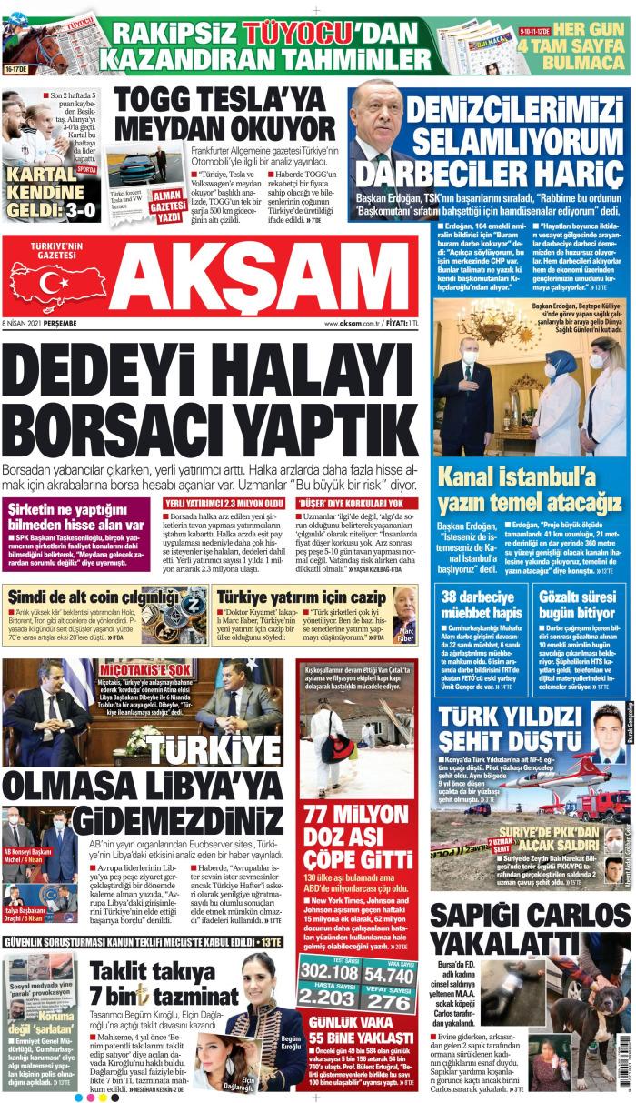 AKŞAM Gazetesi 8 Nisan 2021, Perşembe Günü Manşeti