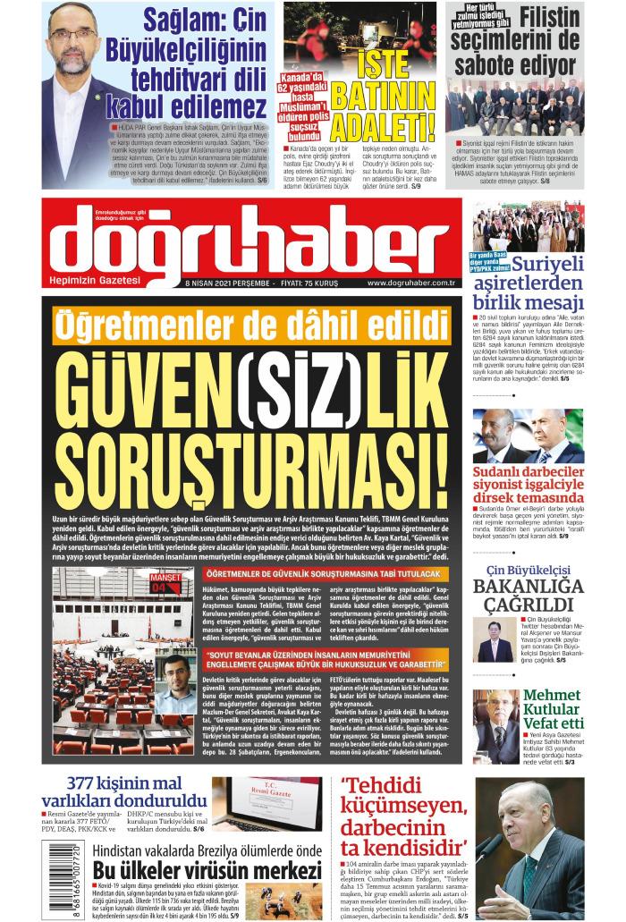 Doğru Haber Gazetesi 8 Nisan 2021, Perşembe Günü Manşeti