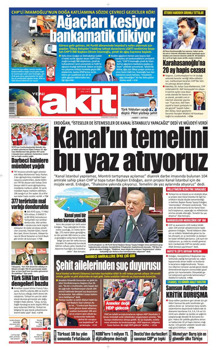 YENİ AKİT Gazetesi 8 Nisan 2021, Perşembe Günü Manşeti