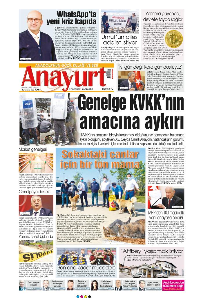 ANAYURT Gazetesi 5 Mayıs 2021, Çarşamba Günü Manşeti