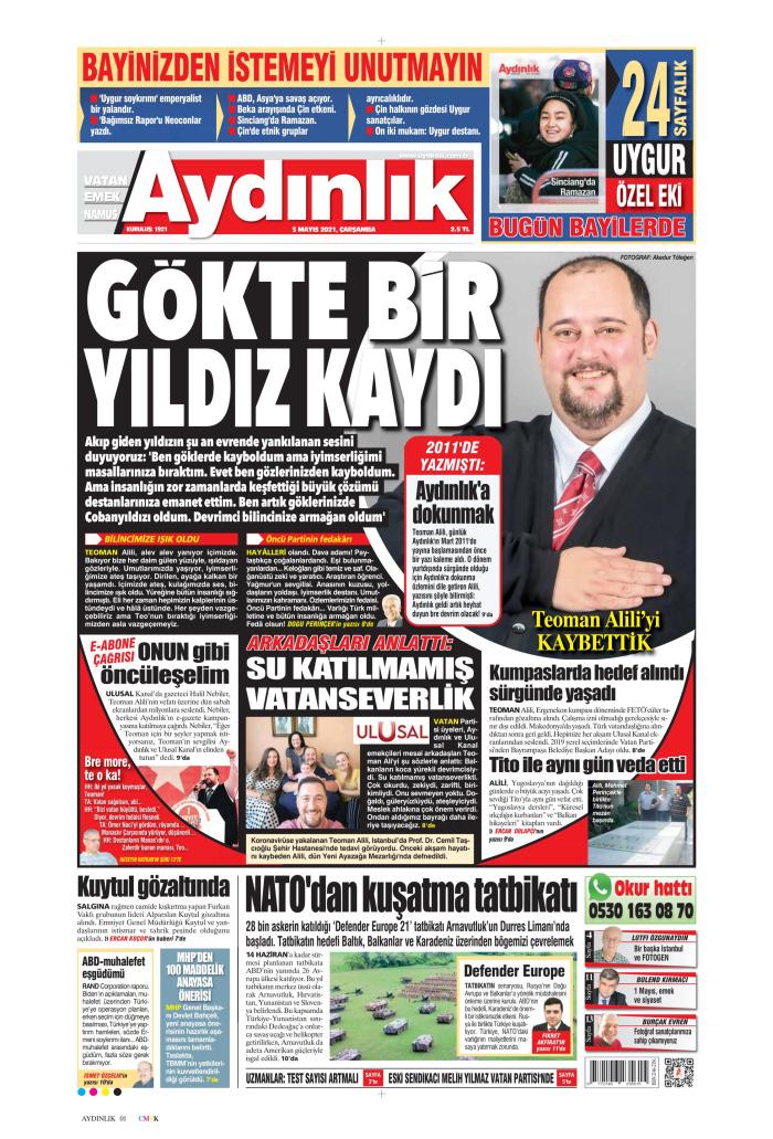 AYDINLIK Gazetesi 5 Mayıs 2021, Çarşamba Günü Manşeti
