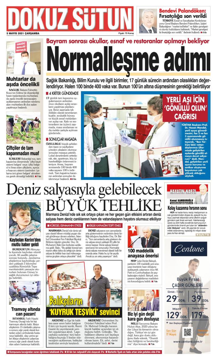 DOKUZ SÜTUN Gazetesi 5 Mayıs 2021, Çarşamba Günü Manşeti