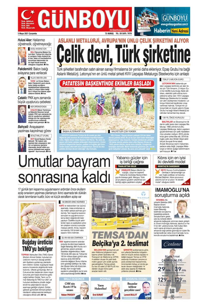 GÜNBOYU Gazetesi 5 Mayıs 2021, Çarşamba Günü Manşeti