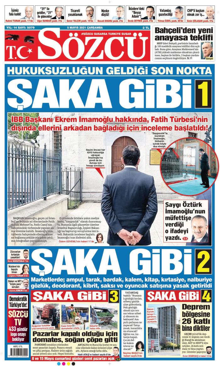 SÖZCÜ Gazetesi 5 Mayıs 2021, Çarşamba Günü Manşeti