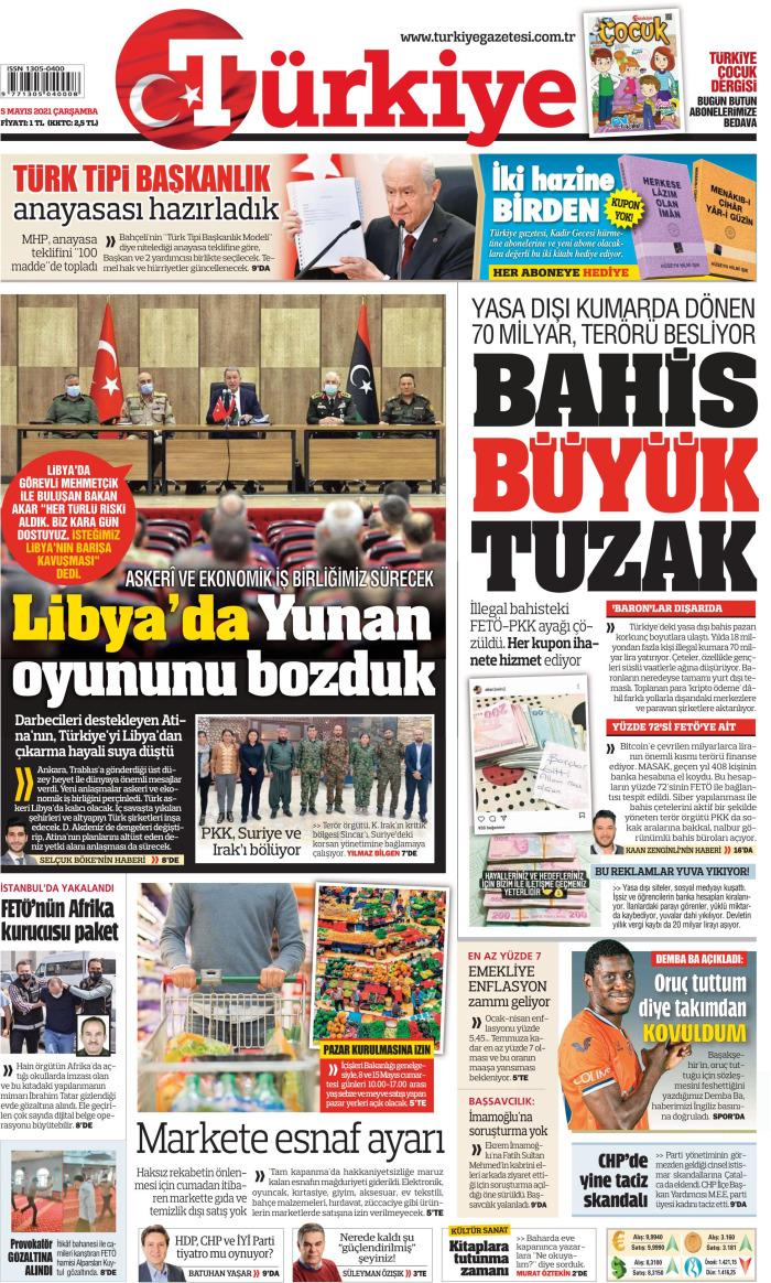 TÜRKİYE Gazetesi 5 Mayıs 2021, Çarşamba Günü Manşeti