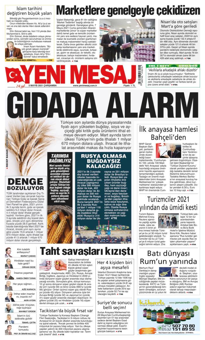YENİ MESAJ Gazetesi 5 Mayıs 2021, Çarşamba Günü Manşeti
