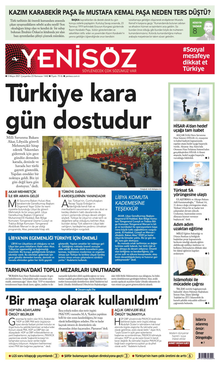 YENİ SÖZ Gazetesi 5 Mayıs 2021, Çarşamba Günü Manşeti