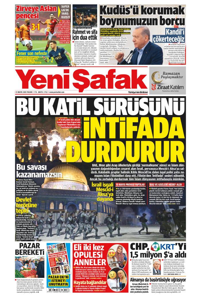 YENİ ŞAFAK Gazetesi 9 Mayıs 2021, Pazar Günü Manşeti