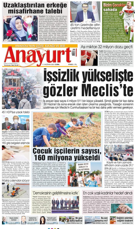 ANAYURT Gazetesi 11 Haziran 2021, Cuma Günü Manşeti