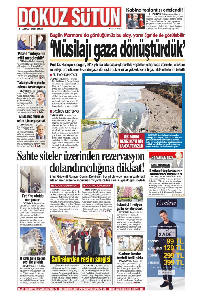 DOKUZ SÜTUN Gazetesi 11 Haziran 2021, Cuma Günü Manşeti