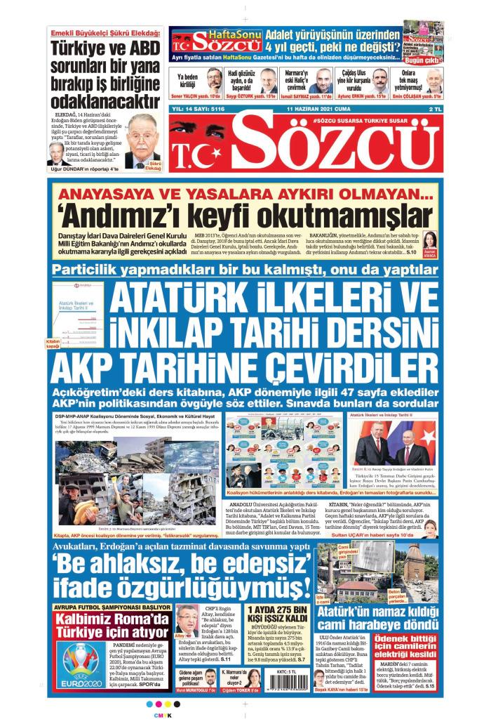 SÖZCÜ Gazetesi 11 Haziran 2021, Cuma Günü Manşeti