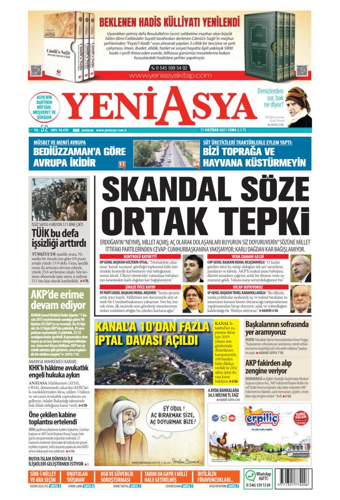 YENİ ASYA Gazetesi 11 Haziran 2021, Cuma Günü Manşeti