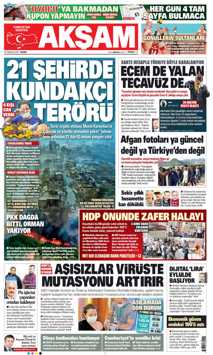 AKŞAM Gazetesi 30 Temmuz 2021, Cuma Günü Manşeti