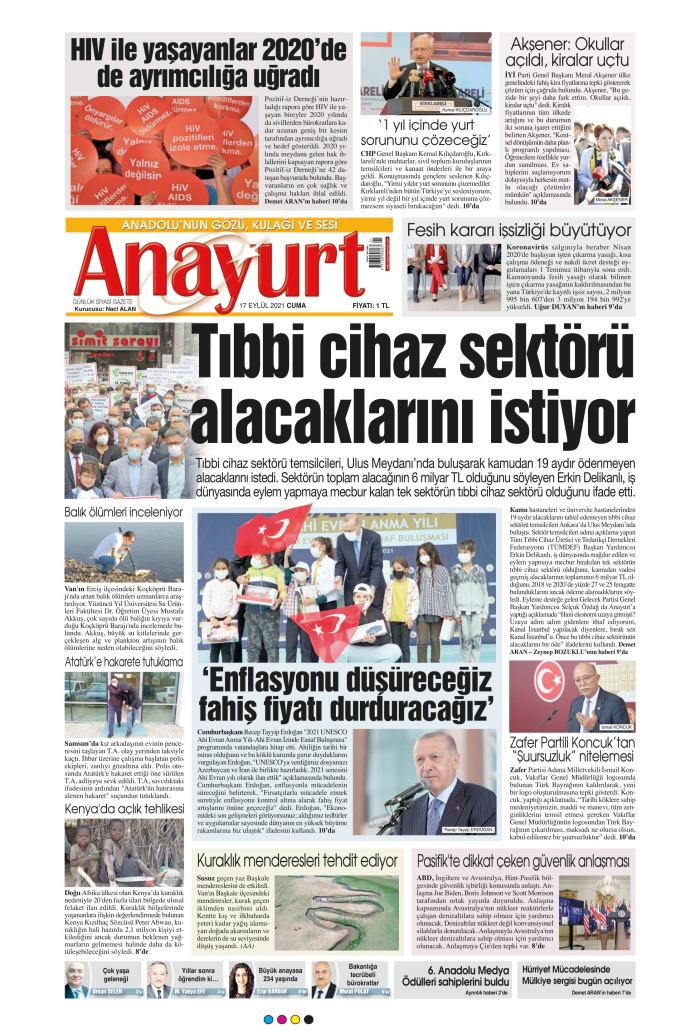 ANAYURT Gazetesi 17 Eylül 2021, Cuma Günü Manşeti