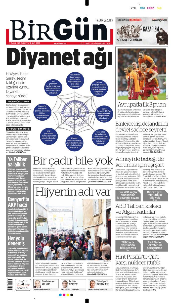 BİRGÜN Gazetesi 17 Eylül 2021, Cuma Günü Manşeti
