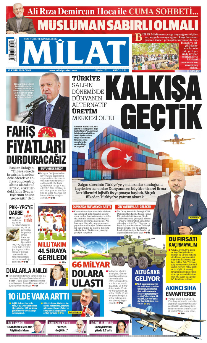 MİLAT Gazetesi 17 Eylül 2021, Cuma Günü Manşeti