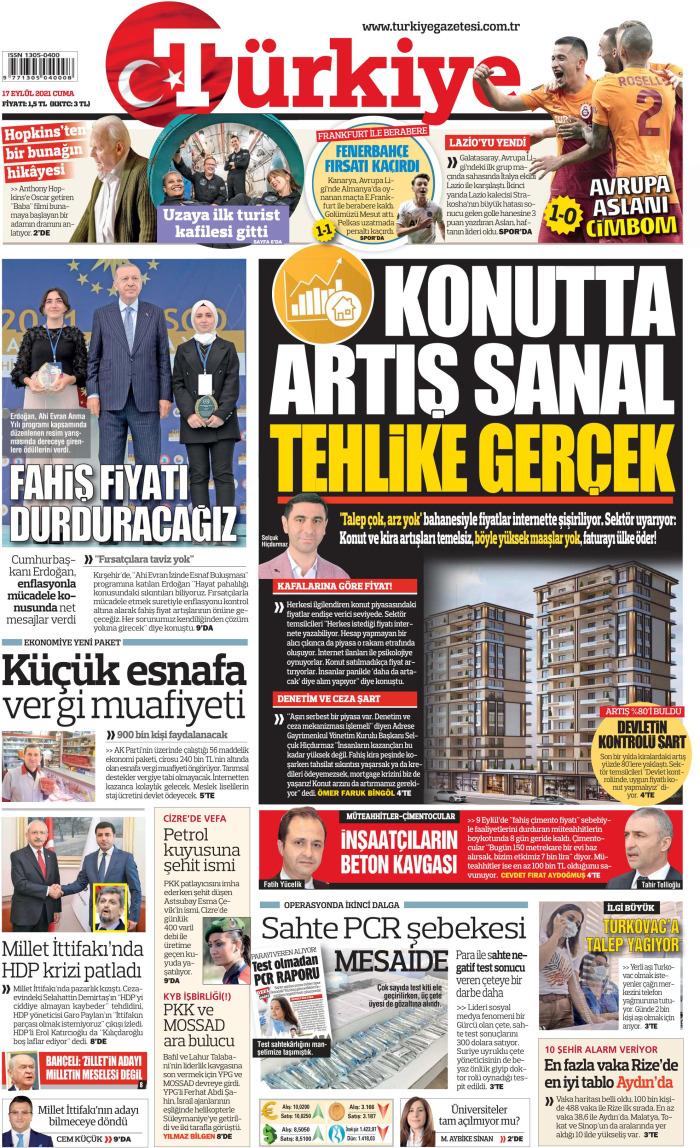 TÜRKİYE Gazetesi 17 Eylül 2021, Cuma Günü Manşeti